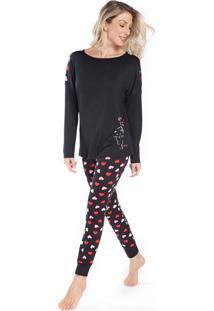 Pijama De Inverno Preto Com Corações