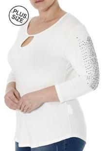 Blusa Autentique Manga 3/4 Plus Size Feminina - Feminino-Off White