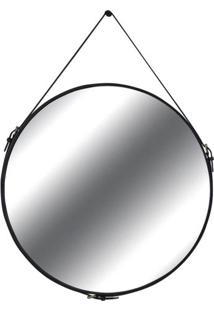 Espelho Elena Prata Borda Couro Preto 90Cm - 60291 - Sun House