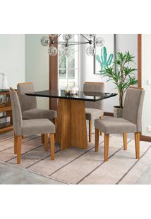 Conjunto De Mesa De Jantar Com Tampo De Vidro E 4 Cadeiras Ana Animalle Nero E Cinza