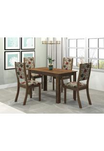 Conjunto Sala De Jantar Mesa Violeta 4 Cadeiras Kiara Viero Grigio/Passion