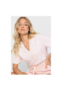 Camiseta Lança Perfume Logo Bordado Rosa