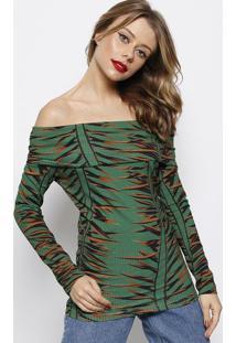 Blusa Ciganinha Canelada Com Tag- Verde & Marrom- Foforum