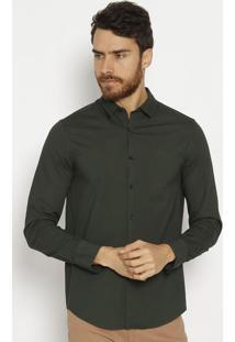 Camisa Slim Fit Com Inscriã§Ã£O - Verde Militarcalvin Klein