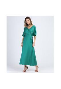 Vestido Feminino Longo Transpassado Manga Curta Verde