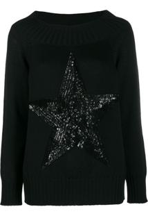 P.A.R.O.S.H. Suéter Com Estrela De Paetês - Preto