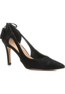 Scarpin Couro Shoestock Nobuck Tassel Salto Alto - Feminino-Preto