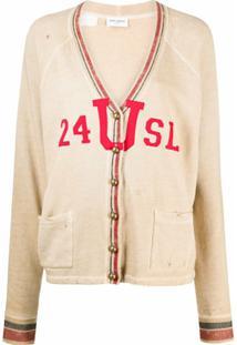 Saint Laurent Cardigan Com Efeito Destroyed - 9784 -Beige/Rouge/Bleu