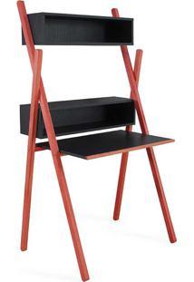 Escrivaninha Com Estante De Parede Moderna Preta E Vermelha Para Quarto Juvenil Sue Woodinn - 87X62X158 Cm