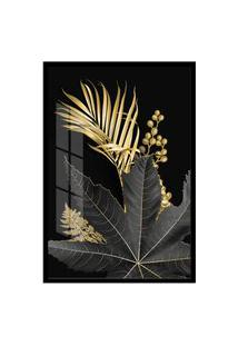 Quadro 90X60Cm Folhagem Dourada Hostoa Gráos De Luxo Moldura Preta Com Vidro