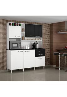 Armário De Cozinha 6 Portas Topázio Sallêto Móveis Branco/Preto Fosco