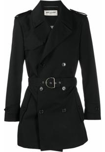Saint Laurent Trench Coat Preto Com Cinto