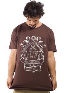 Camiseta Alfa Brasão Logo Marrom