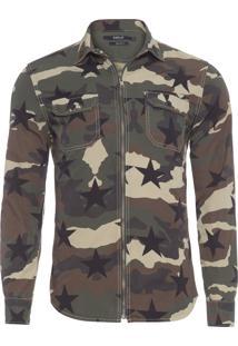 Camisa Masculina Camuflada Estrela - Verde