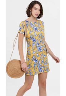 Vestido Feminino Neoprene Estampa Tropical