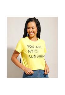 """Camiseta De Algodão Tal Mãe Tal Filha You Are My Sunshine"""" Manga Curta Decote Redondo Amarela"""""""