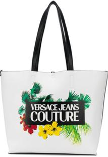 Versace Jeans Couture Tropical Island-Print Tote Bag - Branco