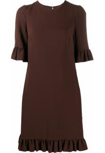 Dolce & Gabbana Vestido Reto Com Acabamento De Babados - Marrom