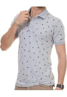 Camisa Pau A Pique Polo Masculina - Masculino-Cinza