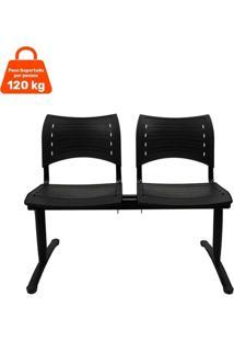 Cadeira Longarina 2 Lugares Preta Evidence Executiva