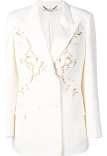Stella Mccartney Blazer Com Bordado Floral - Branco