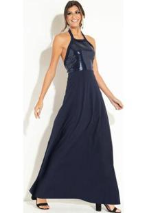 Vestido Longo Azul Com Elástico