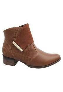 Bota Feminina Ramarim Ankle Boots Cano Curto 2059101 Pinhão