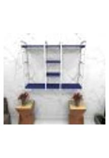 Estante Estilo Industrial Sala Aço Cor Branco 120X30X98Cm (C)X(L)X(A) Cor Mdf Azul Modelo Ind47Azsl