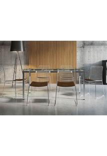 Conjunto Mesa 328 Vidro Incolor Cromada Com 6 Cadeiras 1712 Cacau Carraro