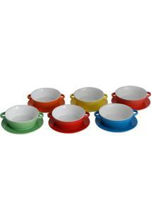 Jogo De Bowls Com Pratos Mary- Colorido- 6Pçs- Rrojemac
