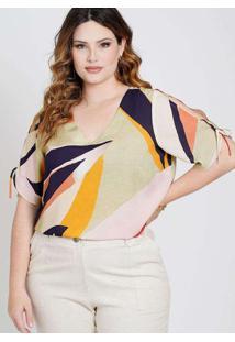 Blusa Estampada Almaria Plus Size New Umbi Abertur