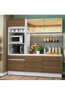 Cozinha Compacta Madesa Diamante Com Armário, Balcão E Tampo Marrom