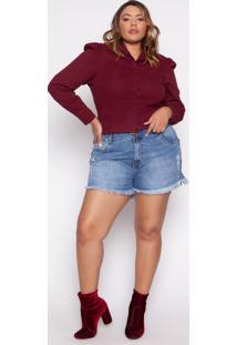 Camisa Almaria Plus Size Izzat Macon Jeans Vinho