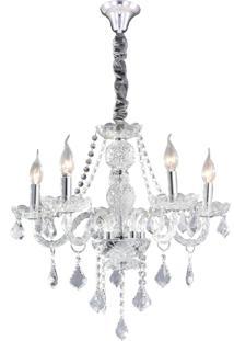 Lustre Hevvy Maria Theresa Sl-9840-H5- Cromado E Transparente