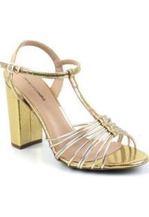 Sandalia Emporionaka Metalizado Feminina - Feminino-Dourado