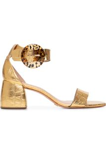 Sandália Feminina Metalizada Salto Bloco - Dourado