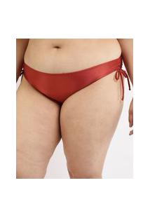 Biquíni Calcinha Plus Size Com Amarração E Proteção Uv50+ Vermelho