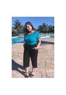 Calça Feminina Mac-Lu Cintura Alta Pantacourt Linha Premium Preto Black Maldivas