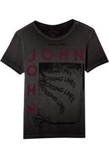 Camiseta John John Rg Crossing Lines Malha Algodão Cinza Masculina (Cinza Chumbo, M)