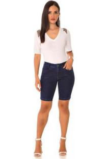 Bermuda Jeans Express Pedal Morgana - Feminino-Azul