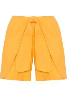 Short Feminino Detalhe Amarração - Amarelo