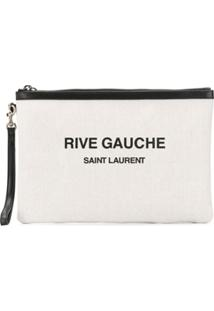 Saint Laurent Clutch Rive Gauche Com Estampa - Branco