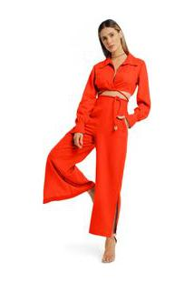 Calça Morena Rosa Pantalona Cós Intermediário Bolso Faca Vermelho