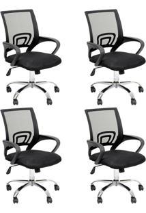 Conjunto Com 4 Cadeiras De Escritório Secretária Giratórias Java Preto