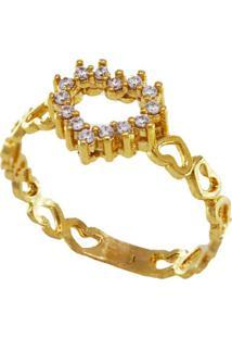 Anel Aro Multi Corações Com Coração Cravejado Cristais Banhado A Ouro 18K - Kanui