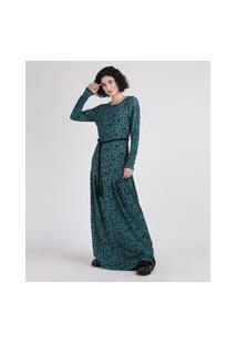 Vestido Feminino Longo Estampado Animal Print Onça Com Cinto Corda Manga Longa Verde