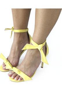 Sandalia Dali Shoes Salto Alto Fino Amarração Feminina - Feminino-Amarelo