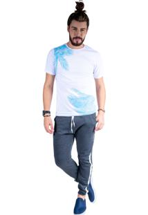 Camiseta Mister Fish Estampado Palmeiras Plus Size Branco