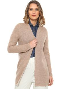 Maxi Cardigan Only Tricot Liso Bege