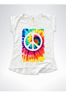 Camiseta Feminina T-Shirt Cool Tees Tie Dye Simbolo Da Paz Mescla - Cinza - Feminino - Algodã£O - Dafiti